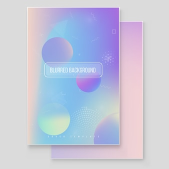 Futuristic modern holographic cover set. 90s, 80s retro style.  hipster style graphic geometric holographic.