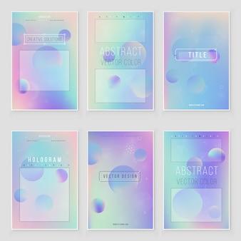 Futuristic modern holographic cover set. 90s, 80s retro style. iridescent design