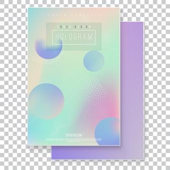 Futuristic modern holographic cover set. 90s, 80s retro style.