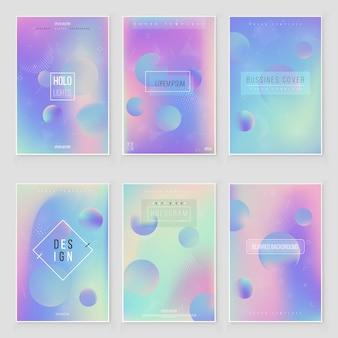 Futuristic modern holographic cover set. 90s, 80s retro style