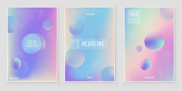 Futuristic modern holographic cover set