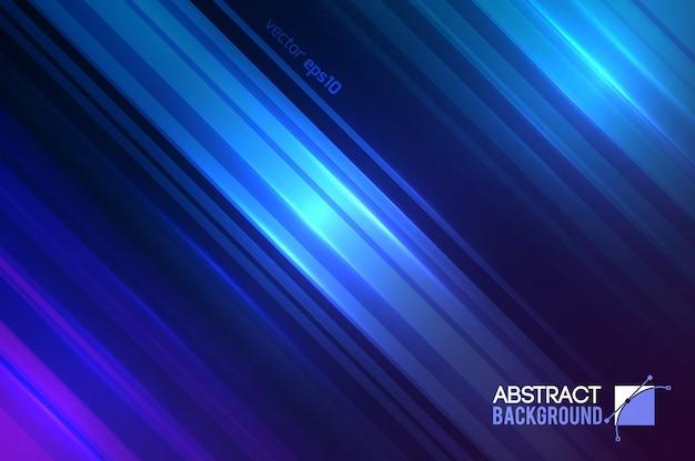 Astratto movimento futuristico con linee diagonali dritte e illustrazione di effetti di luce scintillante