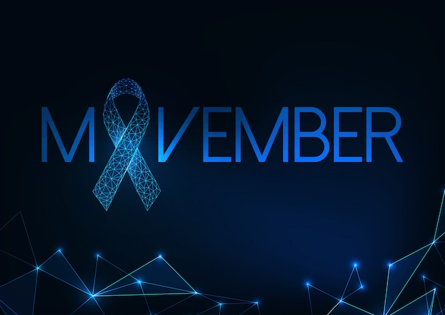 Futuristic movember -prostate cancer awareness month web banner with glowing low polygonal ribbon.
