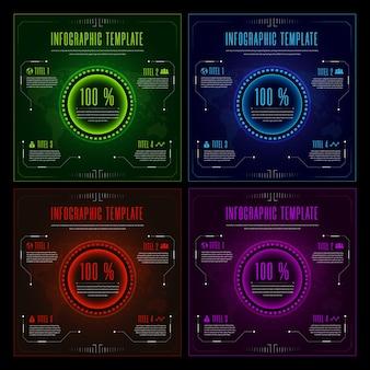 Futuristic multi colored infographics template background