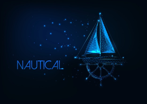 Futuristic nautical concept with glowing low poly yacht boat and ship wheel on dark blue background.