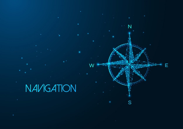 Futuristic navigation concept with glowing low polygonal compass rose