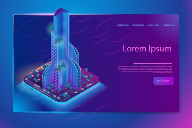 Futuristic neon architecture isometric web banner