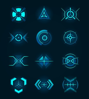 Futuristic neon badges set