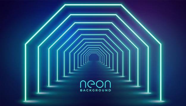 未来的なネオンの幾何学的なライトステージ