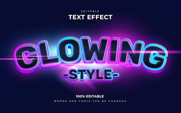 Futuristic neon glow editable text effect