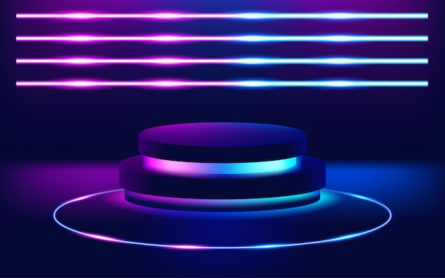 Futuristic neon lights stage floor background.   illustration