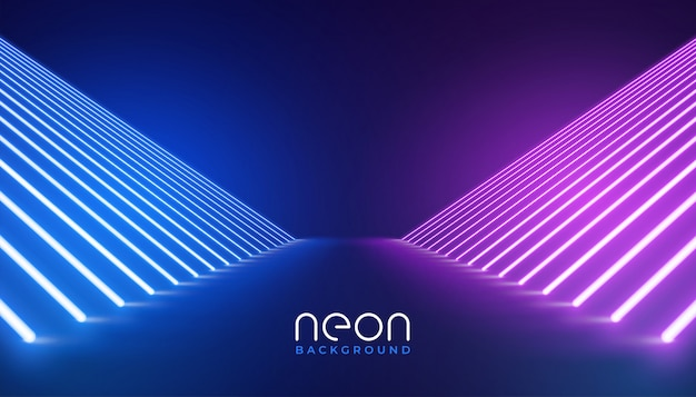 Futuristic neon lights stage floor background