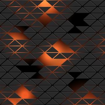 Futuristic neon pattern background with black triangles on orange, dark gradient. 3d style wallpaper for design. - vector trendy geometric  texture