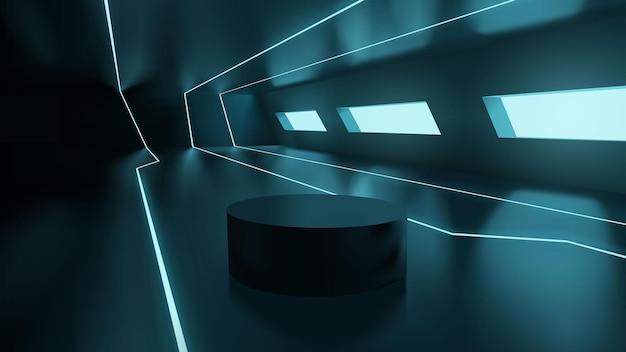 Futuristic neon sci fi room with empty podium for product presentation