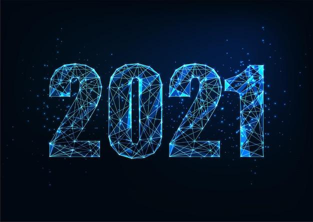 紺色の背景に輝く低い多角形の2021番号を持つ未来的な新年のデジタルwebバナーテンプレート。モダンなワイヤーフレームメッシュデザイン。