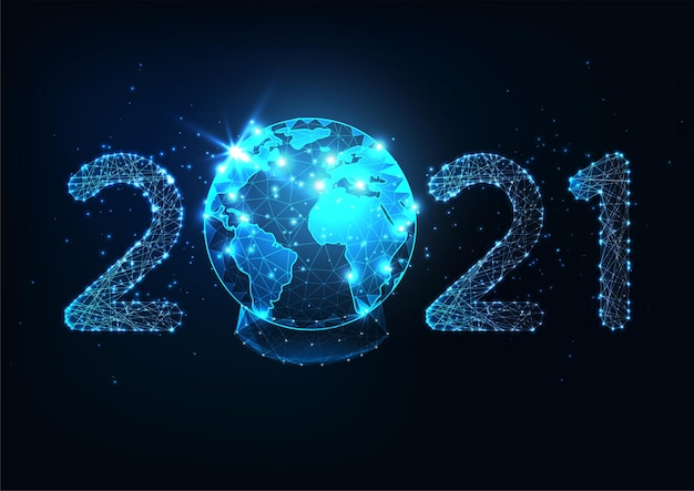 Futuristic new year digital web banner template with glowing low polygonal 2021 number and planet earth snow globe on dark blue background. modern wire frame mesh design .