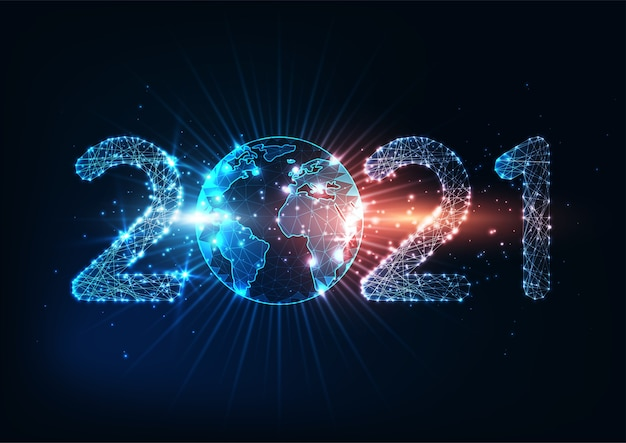 Futuristic new year digital web banner template