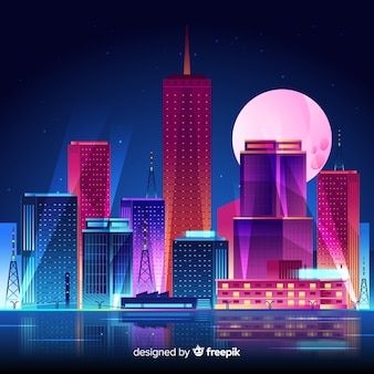 Futuristic night city background