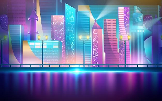 未来の夜の街。明るく輝くネオンの紫と青のライトで暗い背景に都市の景観