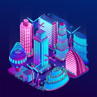 Futuristic night city illuminated by neon lights in isometric style.