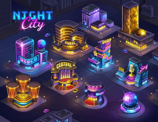 Futuristic night city map for game isometric cityscape background