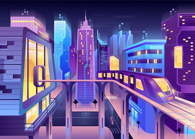 미래의 밤 도시 기차 그림