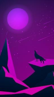 山と月に吠えるオオカミの未来的な夜の風景。多角形の岩。月と流星群のある紫の星空。垂直ベクトル図。
