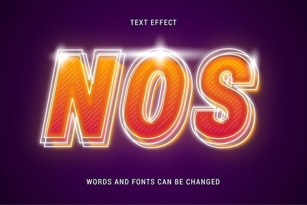 Futuristic nos text effect editable isolated on dark background vector image
