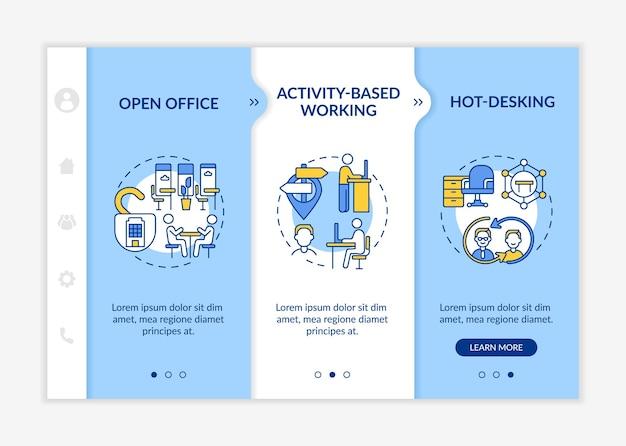 未来的なオフィス環境のオンボーディングベクトルテンプレート。アイコン付きのレスポンシブモバイルサイト。 webページのウォークスルー3ステップ画面。線形イラストとアクティビティベースの作業色の概念