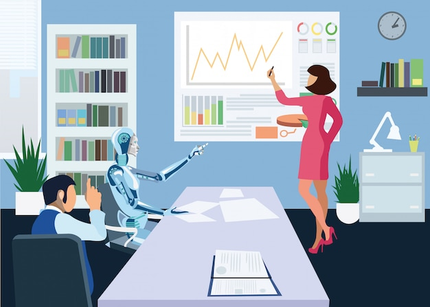 Futuristic office meeting flat vector illustration
