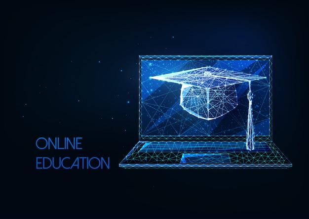 Futuristic online education, distance learning concept with glowing low polygonal graduation cap and laptop on dark blue background.