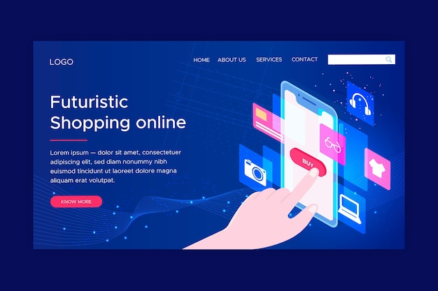 Futuristic online shopping landing page template