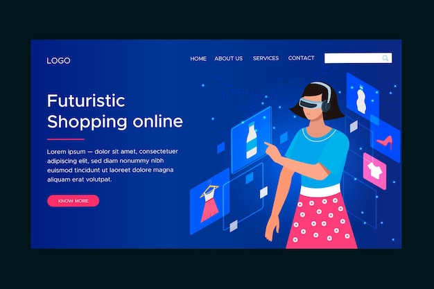 未来的なオンラインショッピングのランディングページテンプレート
