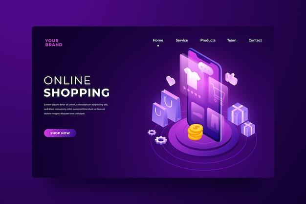 未来的なオンラインショッピングのランディングページ