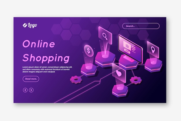 Futuristic online shopping landing page