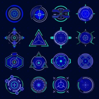 Futuristic optical aim. ui technology aiming, weapon military futuristic sights and weapon target, sniper crosshair game collimator, future targets focus  set. hud technology future elements Premium Vector