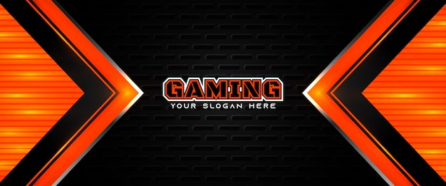 Футуристический оранжевый и черный игровой заголовок шаблон баннера в социальных сетях