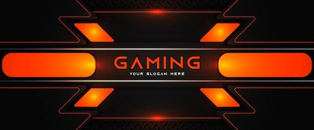Futuristic orange and black gaming header social media banner template