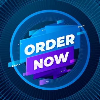 Ordine futuristico ora banner promozionale