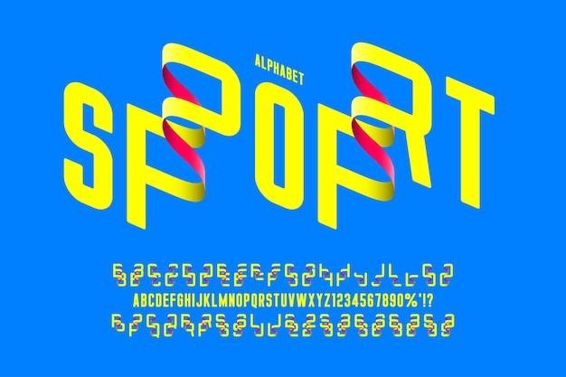 Футуристический оригинальный округлый сжатый алфавит, набор символов и цифр. векторная иллюстрация