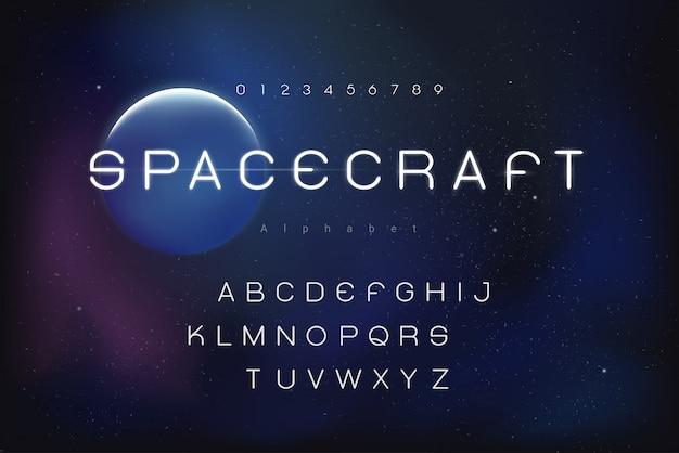 Futuristic outer space theme alphabet font set