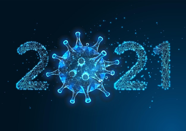 Futuristic pandemic new year digital web banner template with glowing low polygonal 2021 number and coronavirus on dark blue background. modern wire frame .