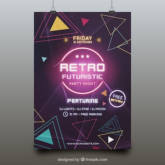 Futuristic party poster template