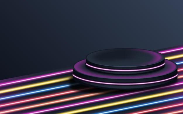 展示用の未来的な台座。製品の空白の表彰台。ネオンライト付き