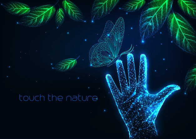 Futuristic people nature connection background
