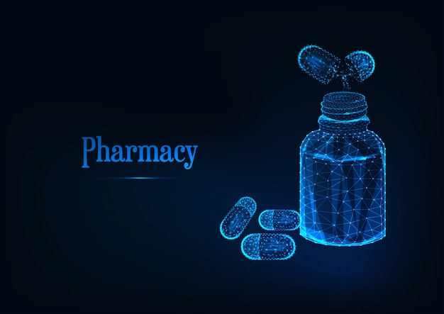 Futuristic pharmacy concept with glowing low polygonal medicine bottle and pills on dark blue.