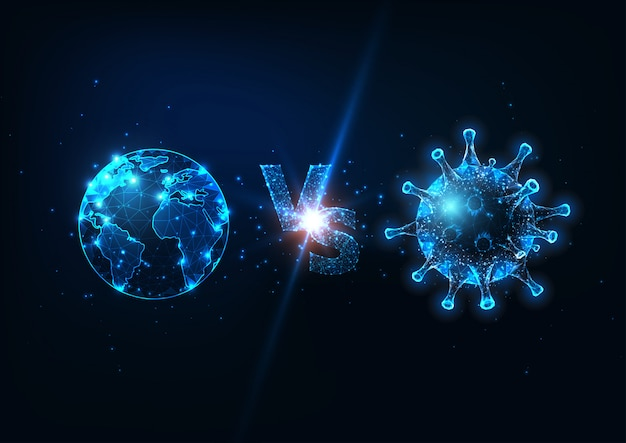 Futuristic planet earth vs coronavirus fight concept with glowing low poly globe and virus cell.