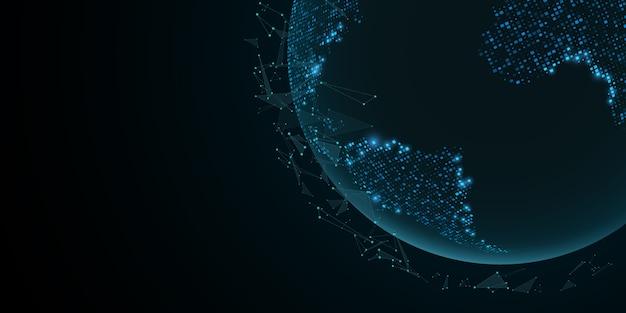 三角形が飛んでいる未来の地球。青いライトの世界地図。サイエンスフィクションとハイテク。神経叢粒子。
