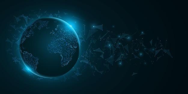 暗い青色の背景に三角形の要素を持つ未来的な惑星の地球。青いライトとドットの世界地図。