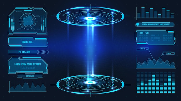 Futuristic platform. hologram podium and digital data graphs and frames for product stand or game ui. future technology sci fi vector stage. virtual reality interface, product demonstration